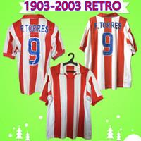 Atletico Madrid  jersey 1903 2003 Retro Soccer Jerseys HOME RED WHITE 9 F. TORRES 2002 vintage Camiseta de futbol 100th Anniversary Edition football shirt