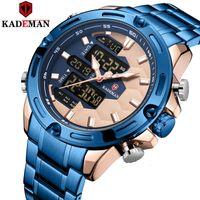 KADEMAN New Futebol Inspire Sport Watch Luxo Homens Moda completa de pulso de aço TOP Marca duplo movimento LCD Relógio Masculino Relógio LY191206