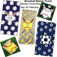 Baseball Beach Handduk Rektangel Softball Fotboll Sport Handdukar Microfiber Mats Blankets Superfine Fiber Beach Blanket 150 * 75cm GGA1579