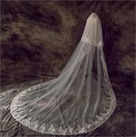 Сияющие блестящие кружева свадебные вуалии с COMBS Два слоя для лица для лица невесты вуаль свадебные аксессуары Vestido de Novia