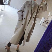 2019 manteau d'hiver femmes larges revers ceinture de poche laine de poche mélange manteau surdimensionné longue tranchée de la laine de laine d'extérieur