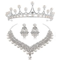Branco Crystal Pearl Colar Brincos Crown jóias bridal jóias de moda do casamento elegante da jóia Cubic Zirconia diamante