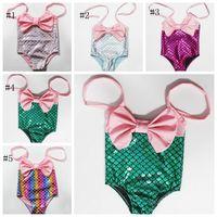 Denizkızı Mayo Bebek Kız Suspender mayolar Big Bow Kızlar Banyo Suit Çocuklar Bikini Beachwear 5 Toptan YW3253Q Tasarımları