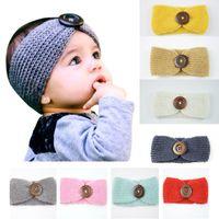 Nuovo neonate lane di modo della fascia del Crochet Knit Hairband con il tasto Decor inverno infante appena nato dello scaldino dell'orecchio capo Headwrap 13 colori M570
