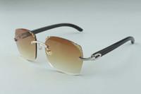 2019 Hot vente récent de style exquis 3524018-8 micro-lentilles de coupe des lunettes de soleil, temples de corne de buffle noir naturel verres, taille: 18-140mm