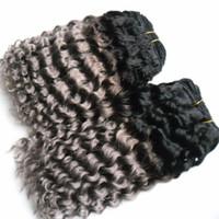 Brésiliens bouclés 100% faisceaux d'armure de cheveux humains 8-26 pouces 2 pièce Kinky Weave cheveux bouclés 2 pièce Ombre faisceaux d'armure de cheveux brésiliens