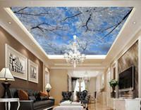 Salon Tavan Duvar Kış gökyüzünde, dondurulmuş ağacın İçin Modern Duvar 3D Duvar Resimleri, Duvar Kağıdı Fotoğraf Duvar Kağıdı 3d kar taneleri