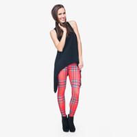 d0978784f2d6f Wholesale red plaid leggings resale online - Lady Leggings Red Tartan D  Digital Full Printed Skinny