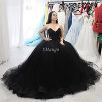 Vintage Black Ball Gown Prom Dresses Sweetheart Sleeveless G...