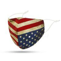 cara protectora bandeira dos EUA laço impresso cover dentes máscara corante boca facial ao ar livre à prova de poeira máscara adulto com bolso filtro FFA4231-7