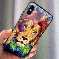 Animal Cool painting Lion Tiger Fashion glass Case Cover Designer For Samsung s10 s10e note9 s9 plus iPhone XR XS X XSMAX Cases