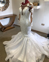 Robes de mariée de luxe en cristal avec perles sirène Vinatage Plus Szie à manches longues en dentelle Africaine Appliqued Robe de mariée