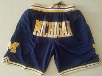 السراويل الجديدة فريق كلية ميشيغان ولفيرين خمر basketball السراويل سستة جيب الجري الملابس البحرية والأصفر فقط فعلت حجم S-XXL