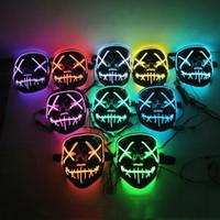 LED Işık Up Cadılar Bayramı Maskesi Glow Karanlık Korkunç Kafatası Yüz Maskesi Masquerade Maske Festivali Parti Cosplay Kostüm Cadılar Bayramı Hediye VT0380