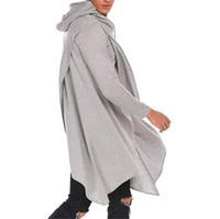 Plus Size Mens Desigenr Hoodies beiläufige reine Farben-Langarm-Kapuzen Asymmetrisches Design Pullover Mode Herrenmode