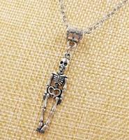 Hot Moda Vintage prata Médica Humano Skeleton Charme Pingente camisola cadeia adequado Colar DIY jóias Para As Mulheres Presente - 51