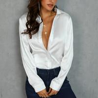 النساء OL الساتان الحرير بلوزة زر السيدات الحرير الساتان بلوزة قميص عارضة أبيض أسود الذهب الأحمر طويل الأكمام الساتان بلوزة أعلى T200321