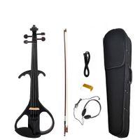Электрическая скрипка Баланс Звук Полного размер 4/4 Электрической Скрипка Скрипка Массивной Electric Violin NEW SET Black Style 3