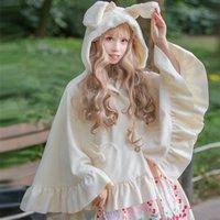 Spessore caldo inverno Mantello coniglio / dell'orecchio di gatto incappucciato cappotto del poncio delle donne Lolita bella Outwear con Ruffle Hem e forma di cuore Tasche Nero Bianco