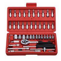 Herramienta de reparación de automóviles 46pcs 1/4 pulgadas Socket Conjunto de herramientas de reparación de automóvil Torque Torque Llave Combo Herramientas Kit de reparación automática