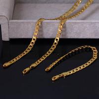 8mm Schmuck-Set 18k gelbes Gold füllte der Frauen-Männer Halsketten-Armband Curb Chain Link Wohnung Schmuck Geschenk