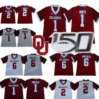 # 1 Jalen Hurts Оклахома Sooners Джерси Мюррей Бейкер Mayfleld Адриан Петерсон Самаже Перин NCAA Колледж печати Стиль футбола