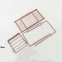 الفولاذ المقاوم للصدأ حوض الرف دش منظم حوض العلبة علبة مع توسيع حامل الجانبين الكتاب رفوف روز الذهب الحمام GGA2883