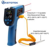 IR Kızılötesi Termometre Higrometre 0-99% RH Dijital Temassız Çift Çift Lazer Silah Renkli LCD K Termokupl KT550D