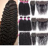 H 9A paquetes de cabello virgen brasileño con cierre de cierre 4x4 de cierre o 13x4 oreja a oreja de encaje de encaje frontal paquetes de cabello humano con closu