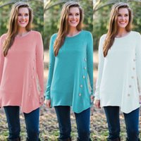 US STOCK Summer Fashion Loose Women Top manches longues Chemisier dames Bouton Casual Hauts Blouses