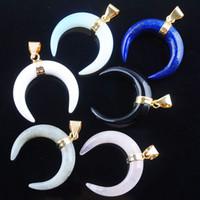 Wojier Crescent Moon Anhänger Halsketten Natürliche Lapislazuli Rose Quarzs Opalitsteine Gold Farbe Frauen Schmuck DBN328