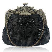 Designer-Frauen-Antike wulstige Partei-Handtasche Vintage Rose Geldbeutel-Abend-Handtasche