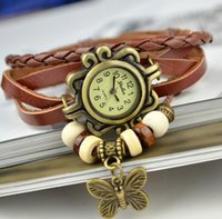 Classic Watch Genuine Leather Hand Knit Watches Rope Weave bracelet Wristwatches Butterfly Pendant Women Luxury beads Dress Clock