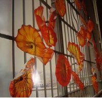 Orange Red Fancy Pretty Hand Blown Wall Decor Glass Plates, ...