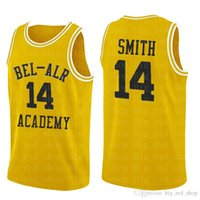 Mens # 14 Smith Bel-Hava Akademisi Jersey # 25 Carlton Banks 100% Dikişli Basketbol Formaları Sarı Yüksek Kalite 2020