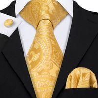 Hızlı Kargo Ipek Kravat Set Beyaz Sarı Paisley erkek Toptan Jacquard Dokuma Kravat Cep Kare Kol Düğmeleri Düğün Business N-5220