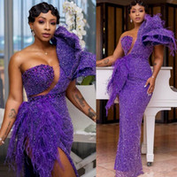 African Purple Mermaid Evening Dresses Thigh High Slits One ...