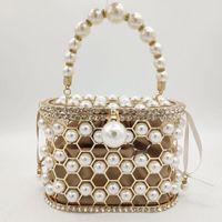 Boutique De FGG Perle Robe de Soirée Bucket d'embrayage Sac femmes Sac de luxe Party strass Shoulder bourse Mesdames diamant Sacs à main
