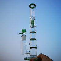 Тройной Percolator Бонг стекло воды Bongs Comb Perc Прямотрубные Водопроводные трубы Birdcage Проц Dab Rigs 18мм Joint Oil Rig HR316
