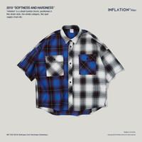 INF Herren Hemd Frühling und Sommer neue Flut Marke Casual T-Shirt European American Retro Plaid Farbe passend zu bequemen Baumwoll-Oversize-Shirt