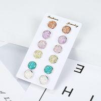 6 par / de Set brilhantes das mulheres da orelha de resina Stud com redondas Bling druzy de pedra para as meninas bonitos Brincos Set 2019 moda jóias presente