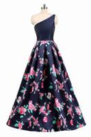파티 드레스 2021 우아한 블랙 A 라인 플로랄 프린트 이브닝 1 숄더 레이스 업 공식 댄스 파티 드레스 라인 바닥 길이