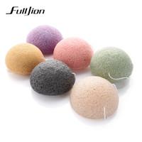 Fulljion 6 couleurs naturel Konjac Konnyaku feuilletée cosmétique éponge visage nettoyez le visage soins du visage poudre de maquillage maquillage outils C18122501