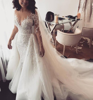 Sexy Mermaid Lace 2019 Arabic Wedding Dresses Sheer Neck Lon...