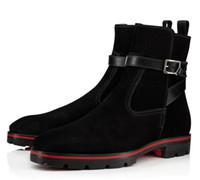 2019 LLuxurious الاطارات المطاطية وحيد سوبر الجودة الكاحل أحذية الأحمر أسفل Kicko حقيقية جلد اسود الجلد المدبوغ أحذية، منتصف أحذية الرجال الرجال أنيق