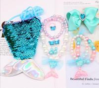 10 Farben Kinder Meerjungfrau Gefrorenen Schmuck Set Multi Perlen Halskette Armband Ohrringe Ring Wallet Clipper Kinder Mädchen Schmuck Geschenk 1 Box für 6 PCs