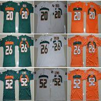 Мужская футболка колледжа Майами Ураганы Вышивка 15 Брэд Каая 20 Эд Рид 52 Рэй Льюис 26 Шон Тейлор Зеленый Оранжевый Белый Высшее качество