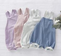 bebé niños Ropa de diseño escalada mameluco Imprimir Stripped Suspender Diseño chica del verano Lolita Romper