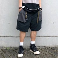 Vintage Colorblock Pockets Shorts Men Streetwear Hip Hop Bag...