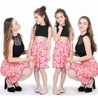 2019 nouvelle famille Mère Fille match Fille Enfants Femmes Tutu Robe Vêtements de culture de dentelle Outfit Top Jupe boho imprimer robes